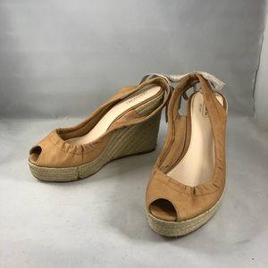 coach maritza wedge tan leather bow size 9